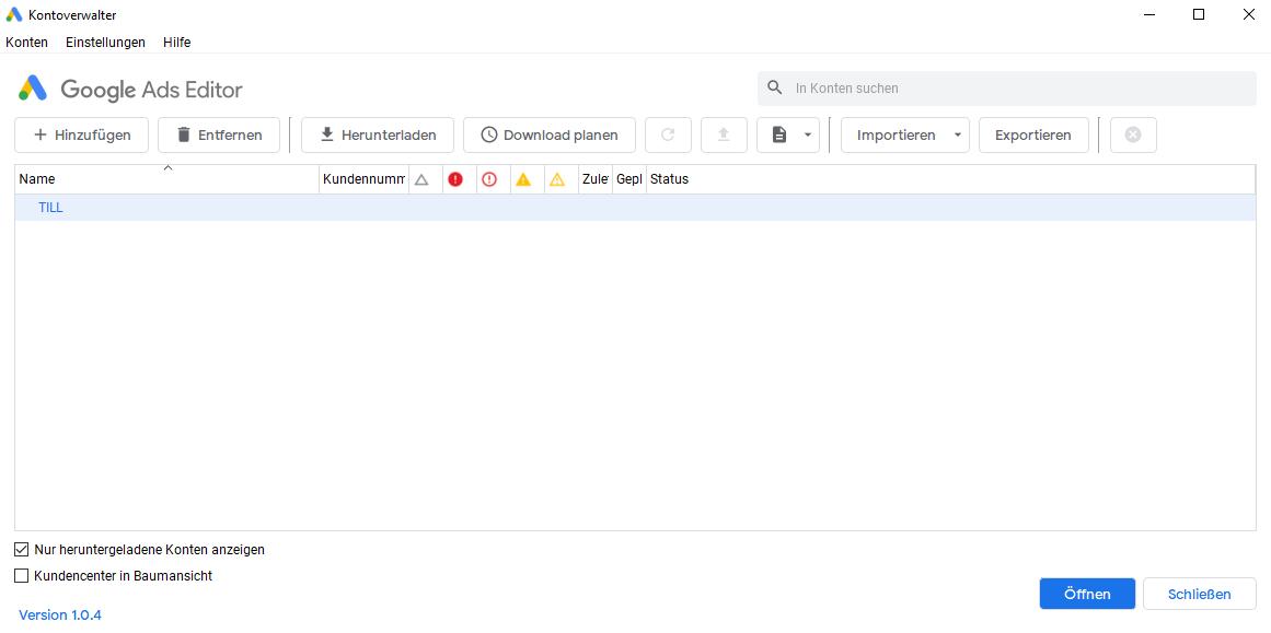 Google Ads Editor_Konto importieren